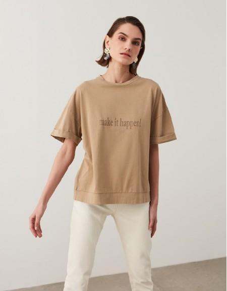 Milk Coffee Slogan Print T-Shirt