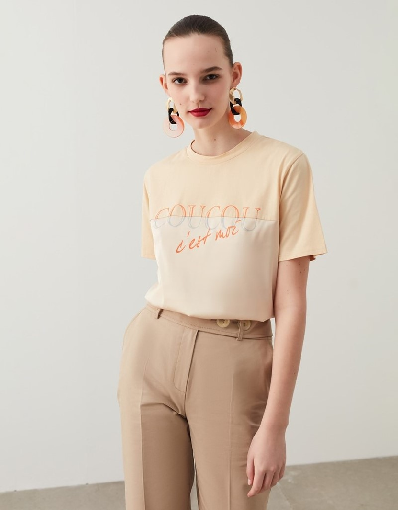 Oil Satin Fabric Mix T-Shirt