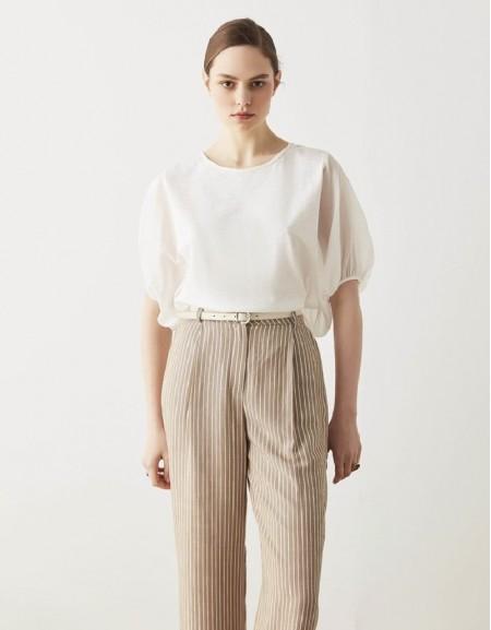 White Fabric Mix T-Shirt