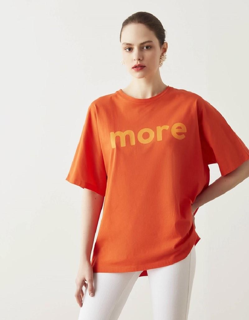 Orange Oversized Print T-Shirt