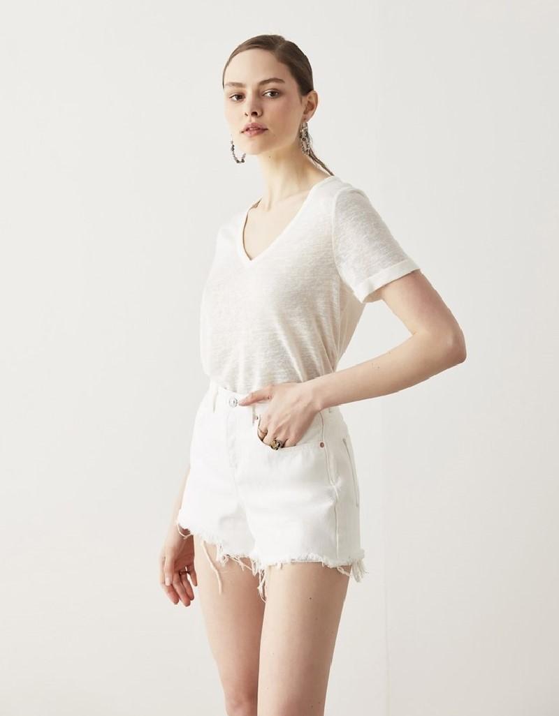White Basic V-Neck T-Shirt