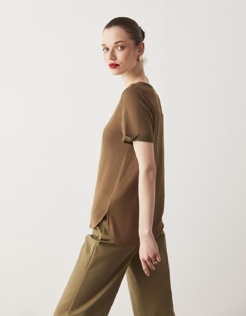 Khaki Basic V-Neck T-Shirt