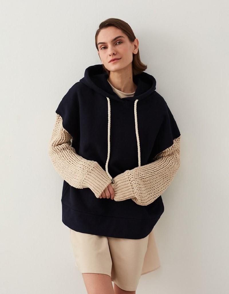 Navy Knitwear-Mix Sweatshirt