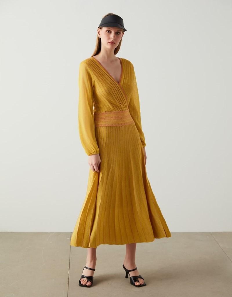 Yellow Striped Knit Maxi Yellow Dress