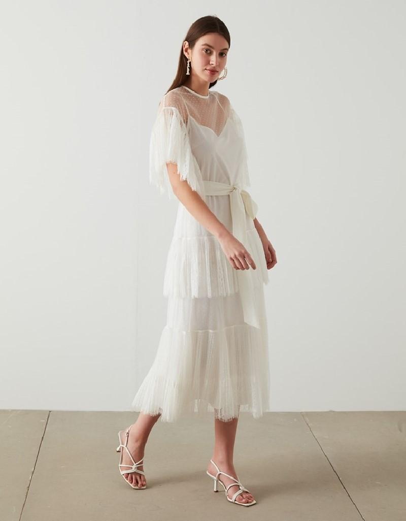 Ecru Dantel Long Maxi Dress