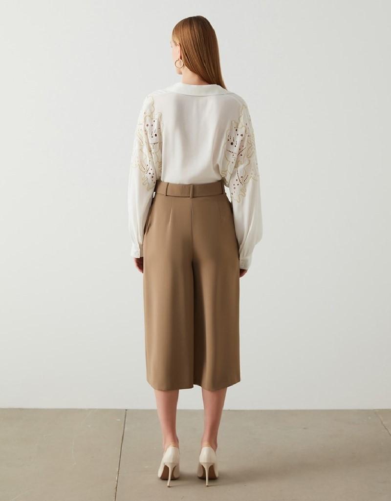 Khaki Belted Wide leg Olive Pant