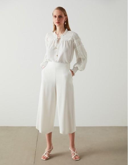 White Wide leg White Pant