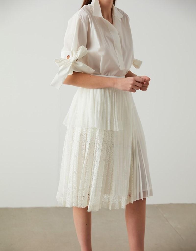 Ecru Dantel Skirt