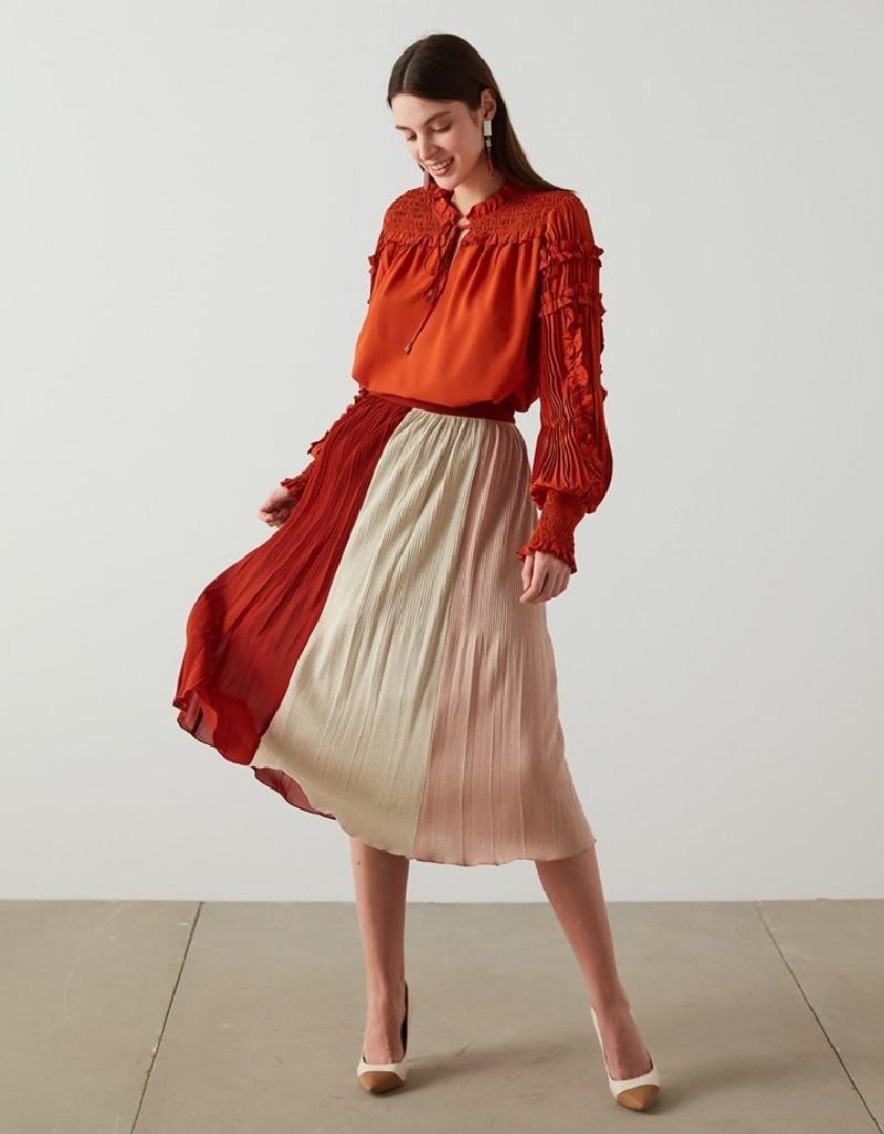 Old Rose Multi Color Striped Skirt