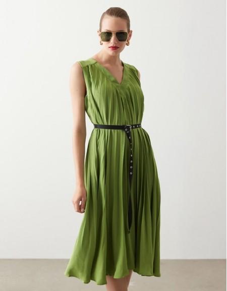 Green Pleat Dress