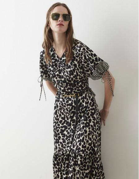 Black Leopard Pattern Satin Dress
