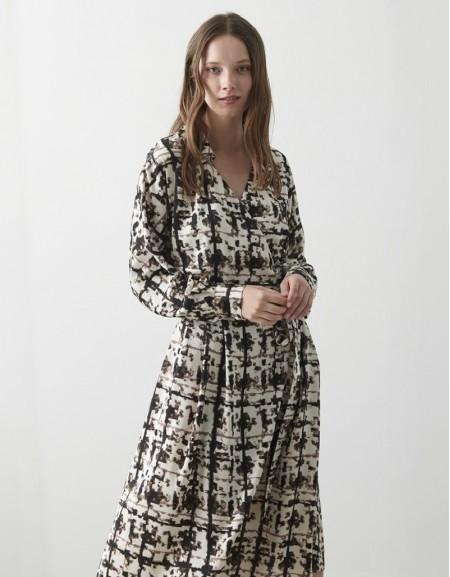 Oil Patterned Wrap Dress