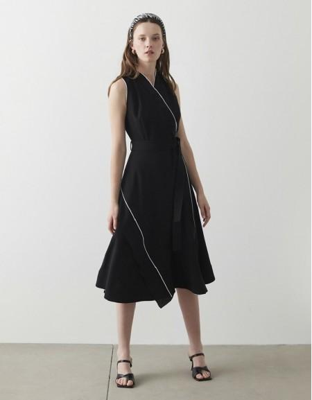 Black Button Accessory Tuxedo Dress