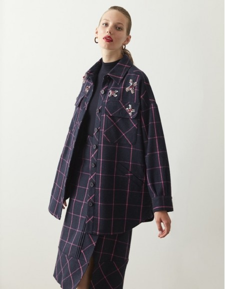Navy Embroidery Detail Shirt Jacket