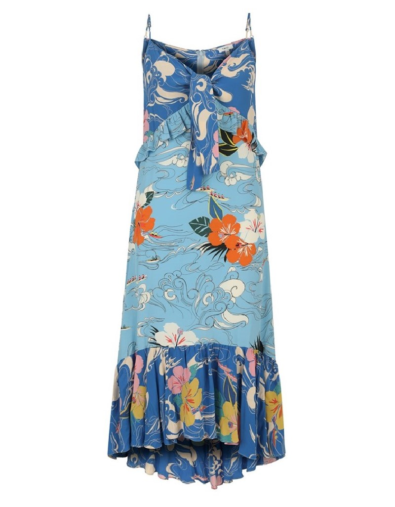 Blue Printed Midi Dress