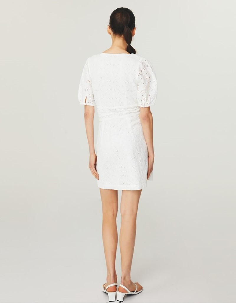 White Balloon Sleeve Brode Dress
