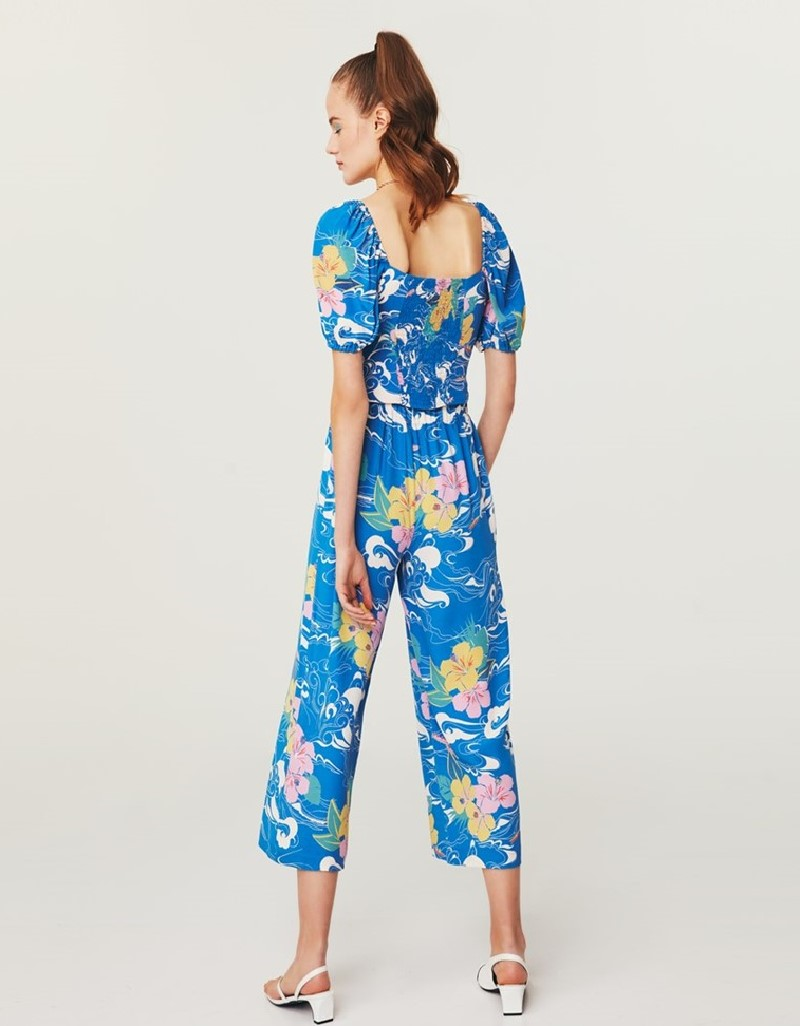 Blue Floral Pattern Trousers