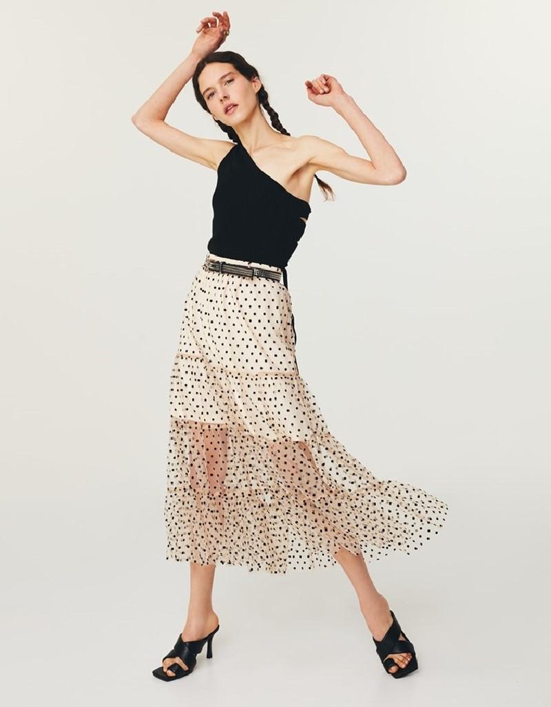 Stone Flock Printed Tulle Skirt