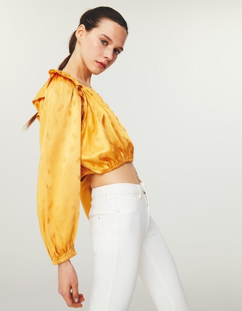 Orange Floral Jacquard Pattern Blouse