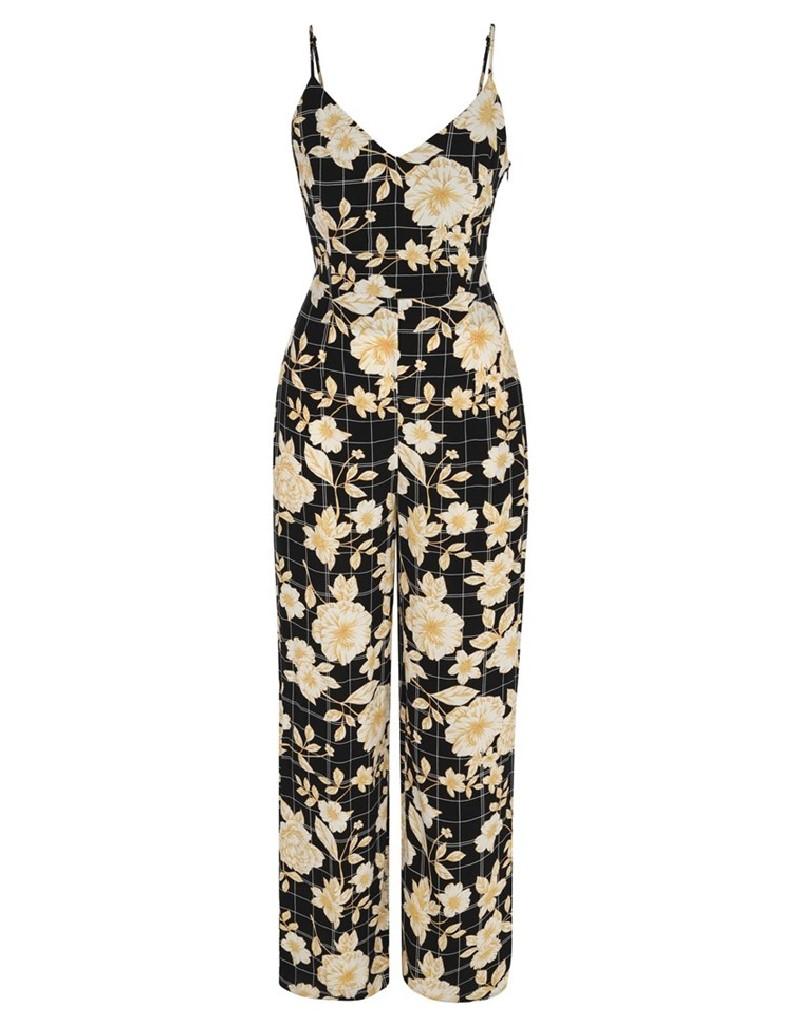 Black Floral Pattern Jumpsuit