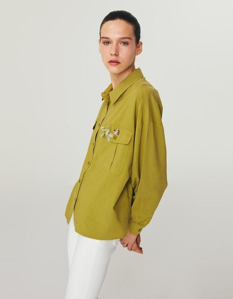 Green Flower Brooch Shirt