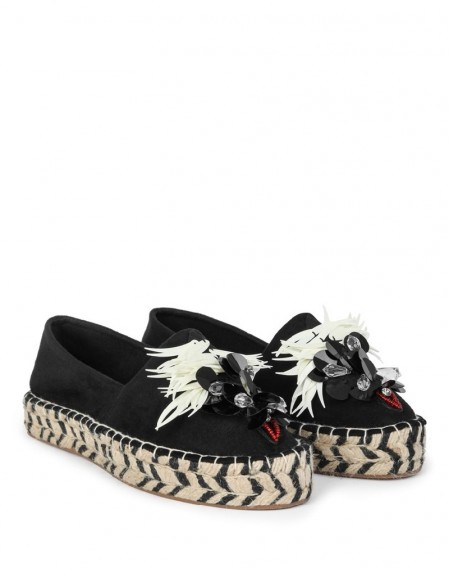 Black Straw Shoes With A Sequin Buckle