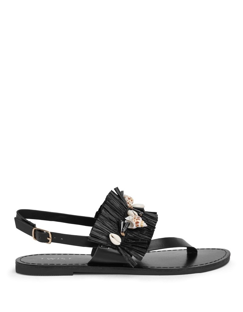 Black Shell Buckle Sandals