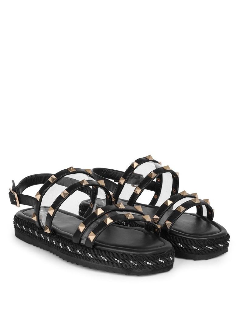 Black Trok Print Strappy Sandals
