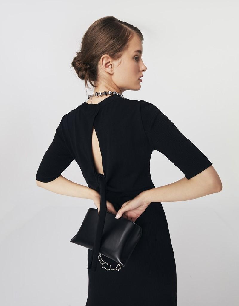 Black Low-Cut Knit Dress