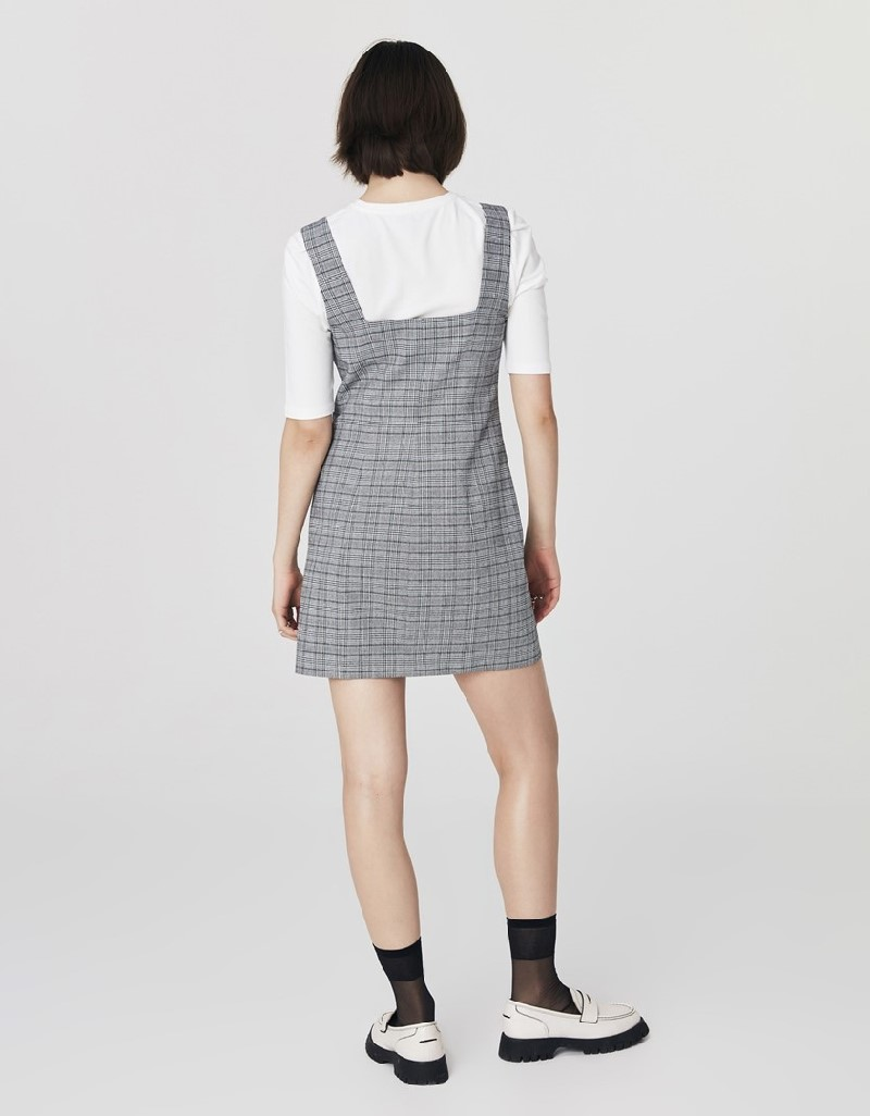 Grey Plaid Pattern Mini Dress