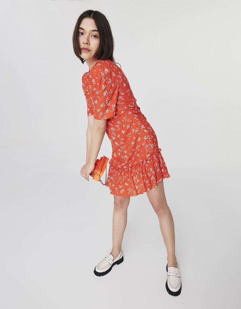 Orange Ruffled Mini Dress
