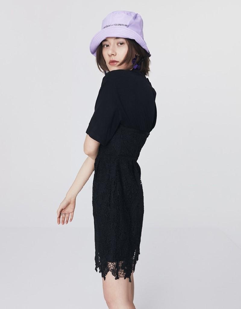 Black Combed Cotton-Mix Guipure Dress