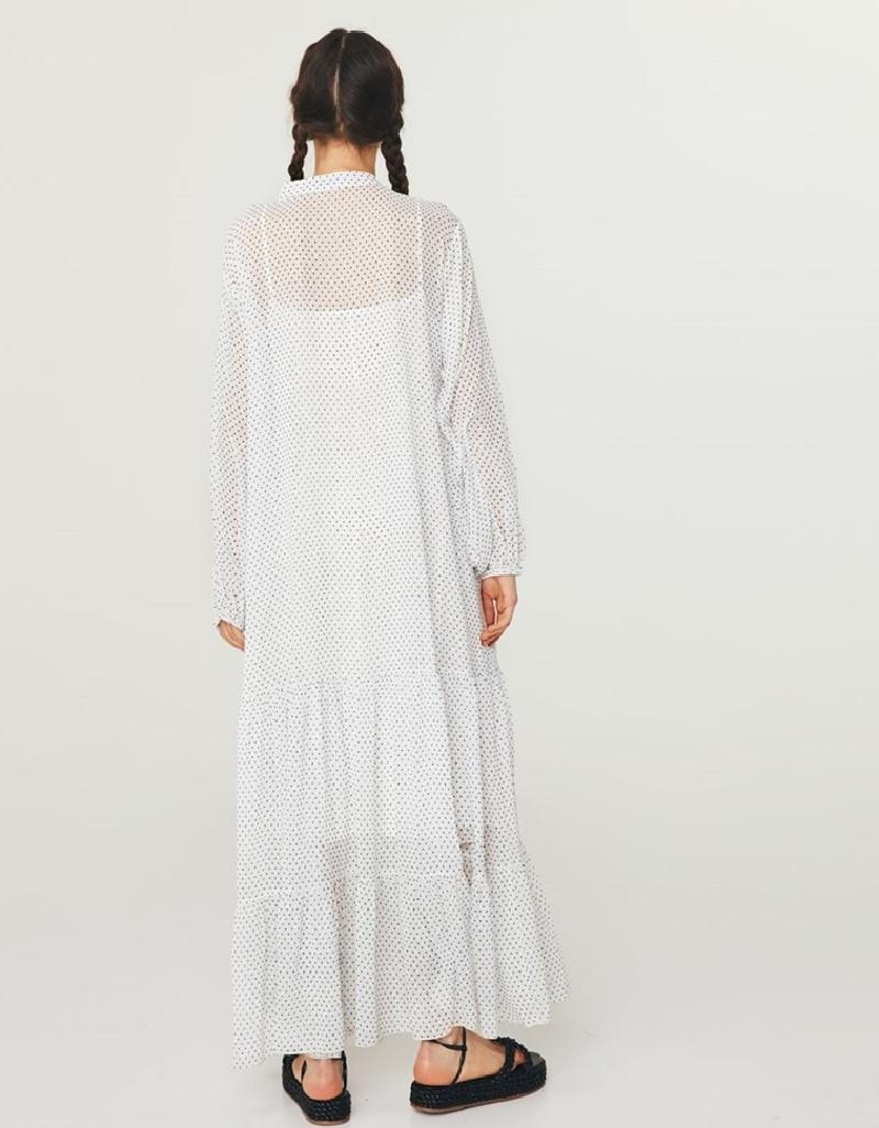Off White Polka Dot Pattern Dress