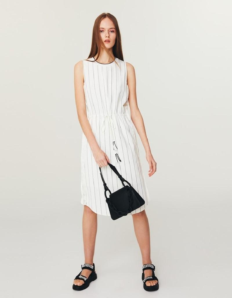 Off White Satin Stripe Midi Dress