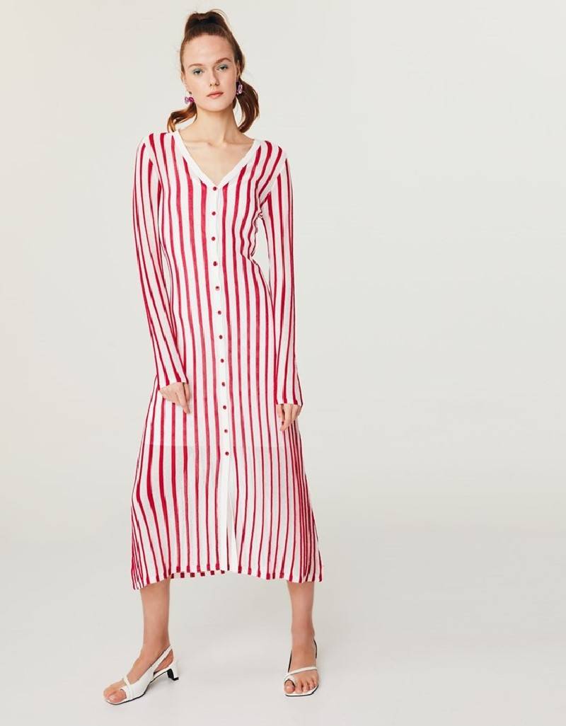 Pink Striped Knit Dress