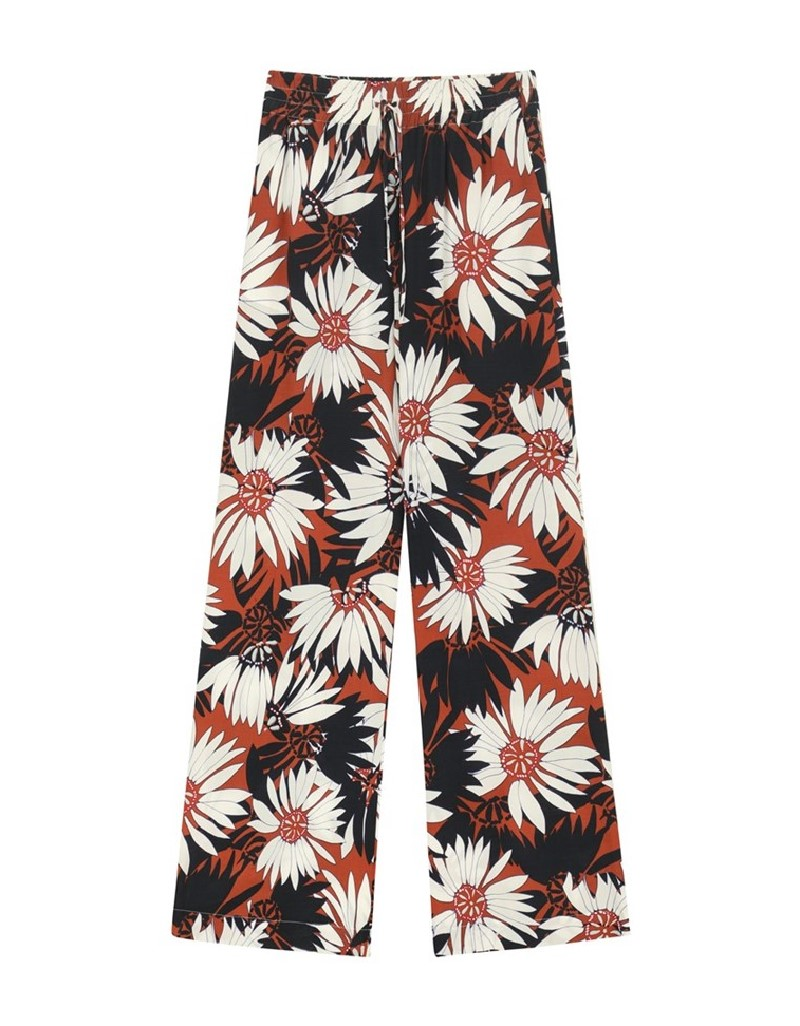 Brown Floral Pattern Trousers