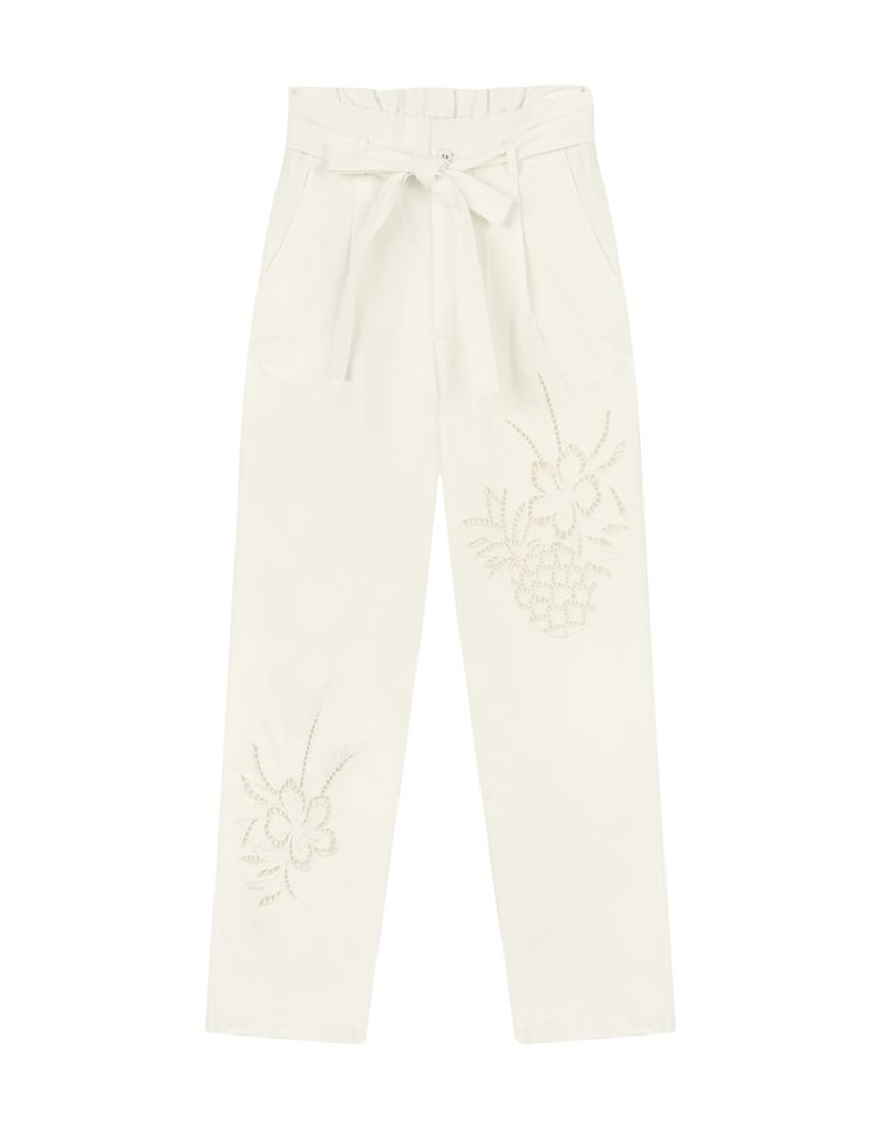 Off White Embroidered Pants