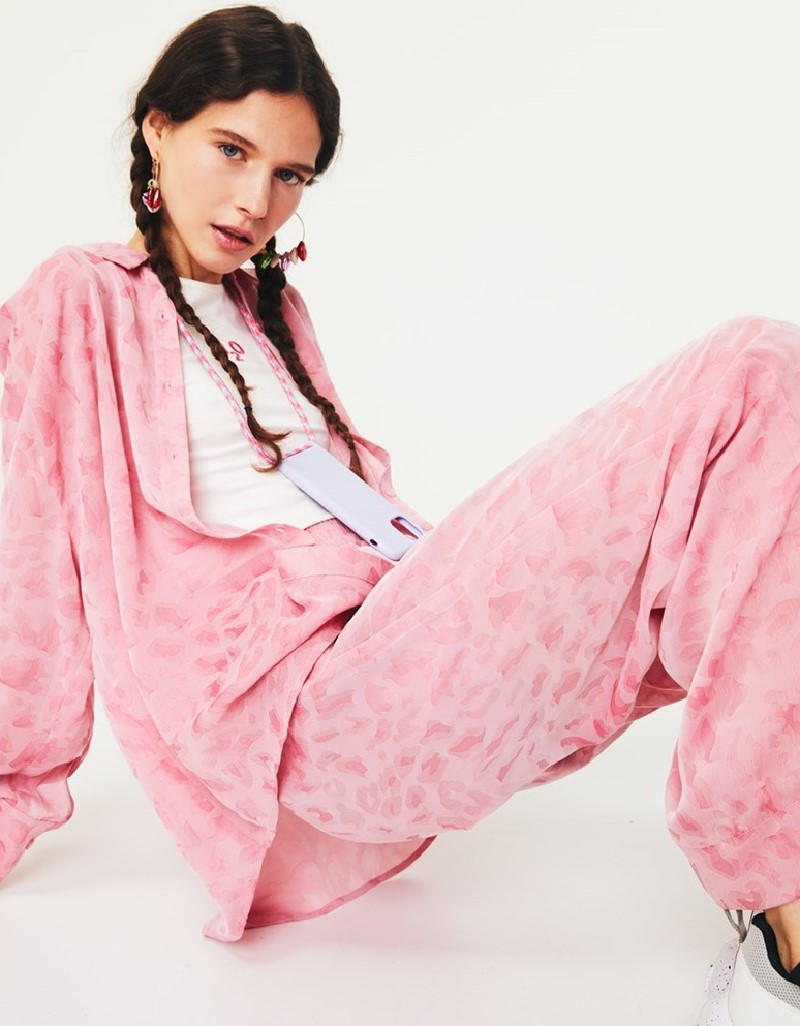 Pink Jacquard Pants