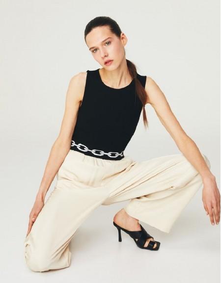 Beige Elastic Waistband Trousers
