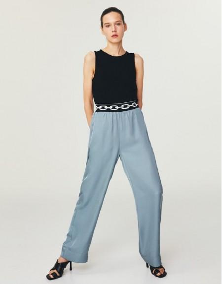 Blue Elastic Waistband Trousers