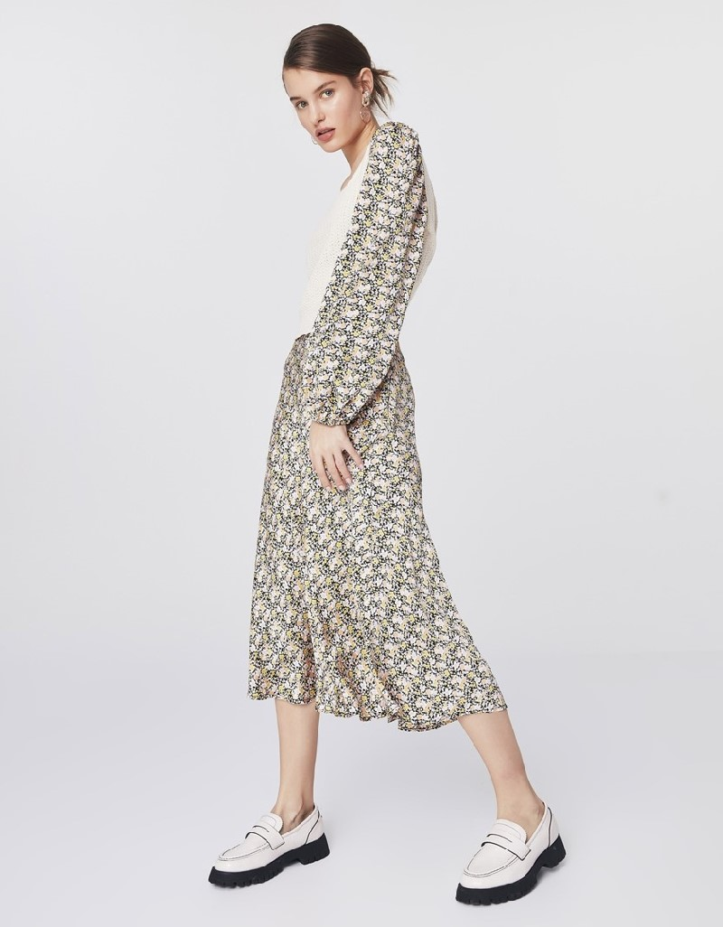 Beige Floral Pattern Skirt