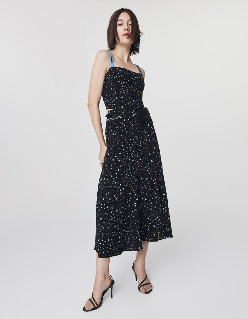 Black Printed Midi Skirt