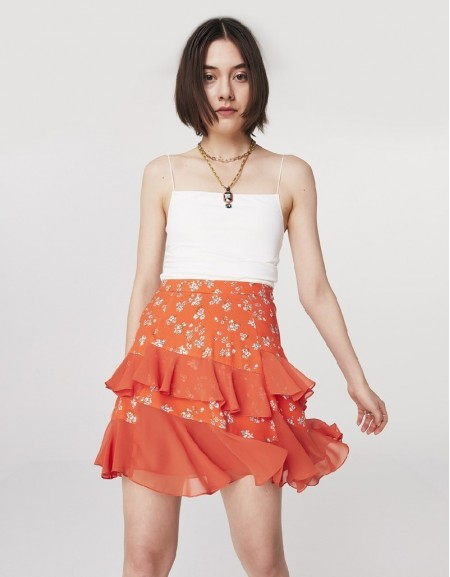 Orange Ruffled Mini Skirt