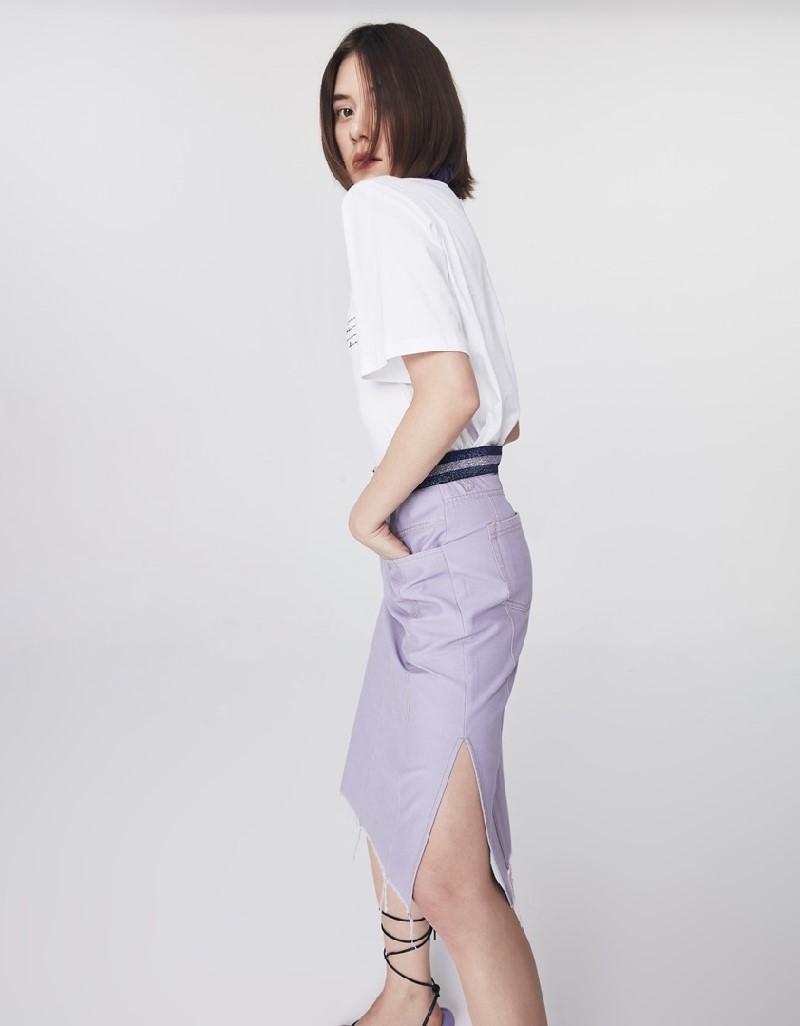 Lilac Slogan Belt Skirt
