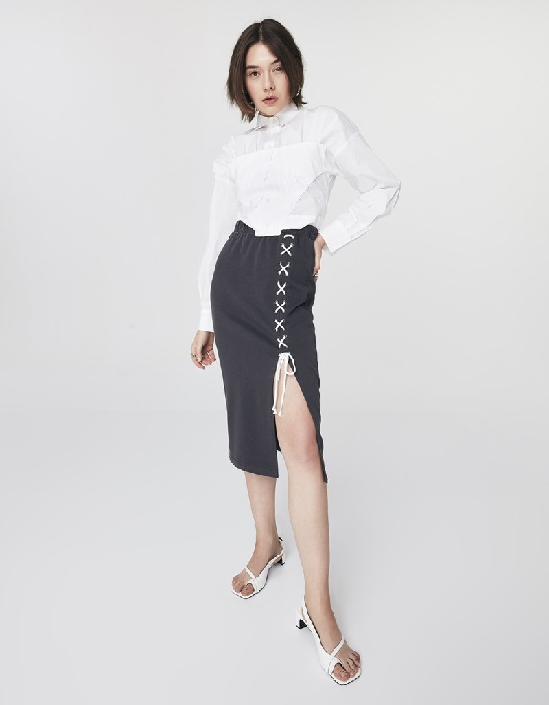 Anthracite Knitted Skirt With Lacing Detail
