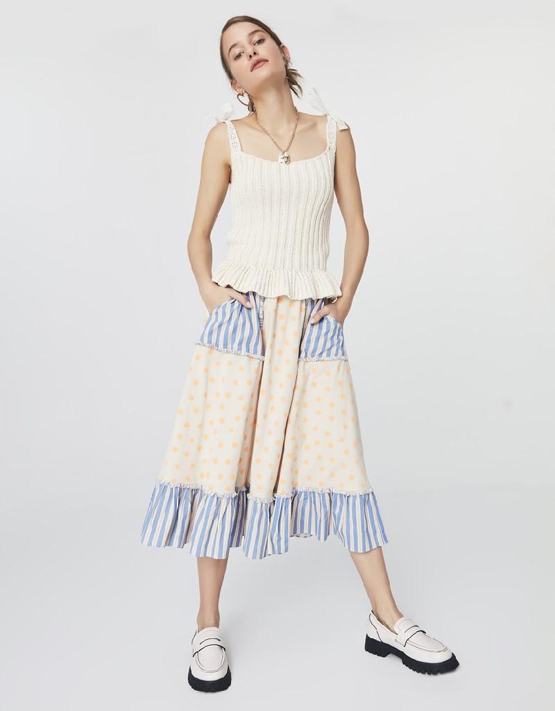 Lilac Pattern Mix Midi Skirt