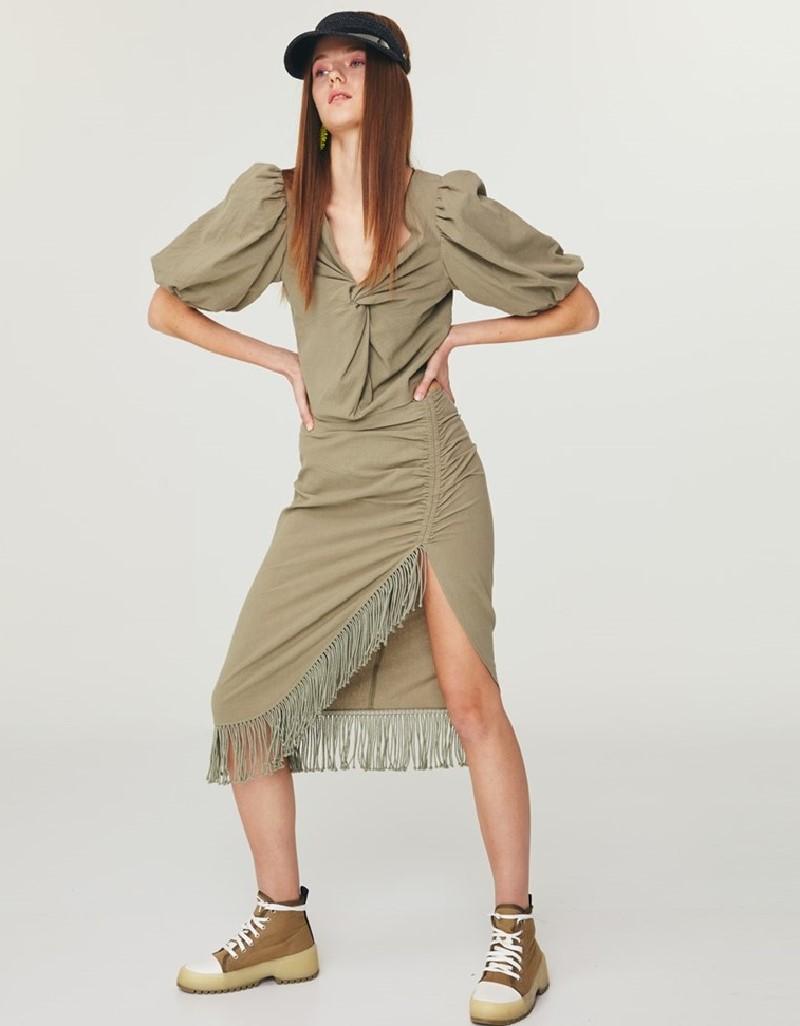 Khaki Fringed Midi Skirt