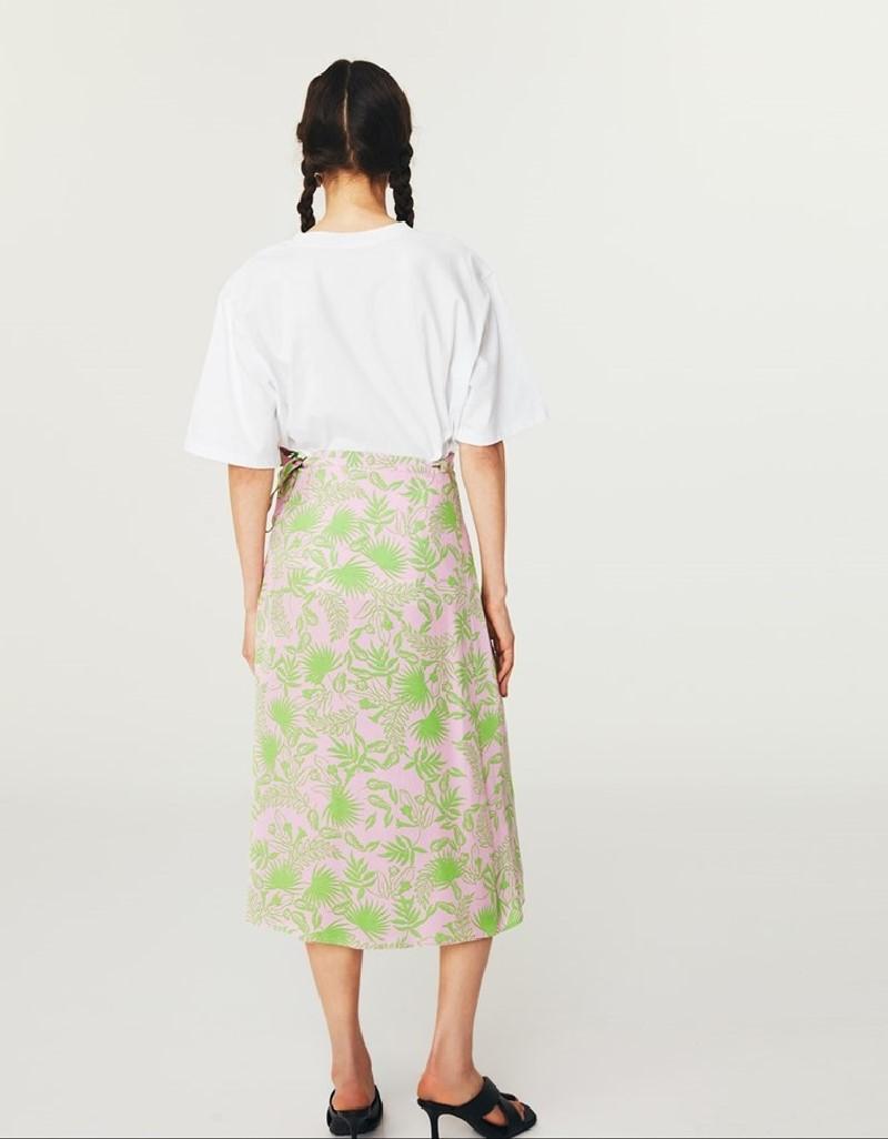 Lilac Pattern Midi Skirt