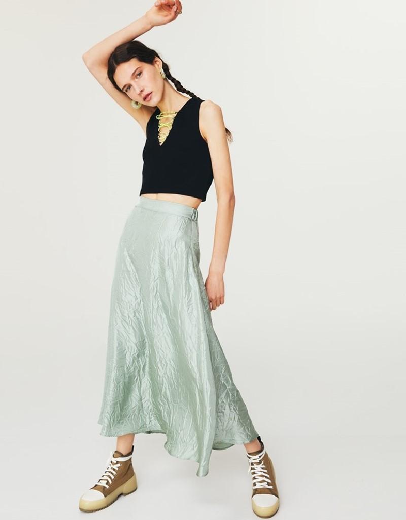 Green Satin Midi Skirt