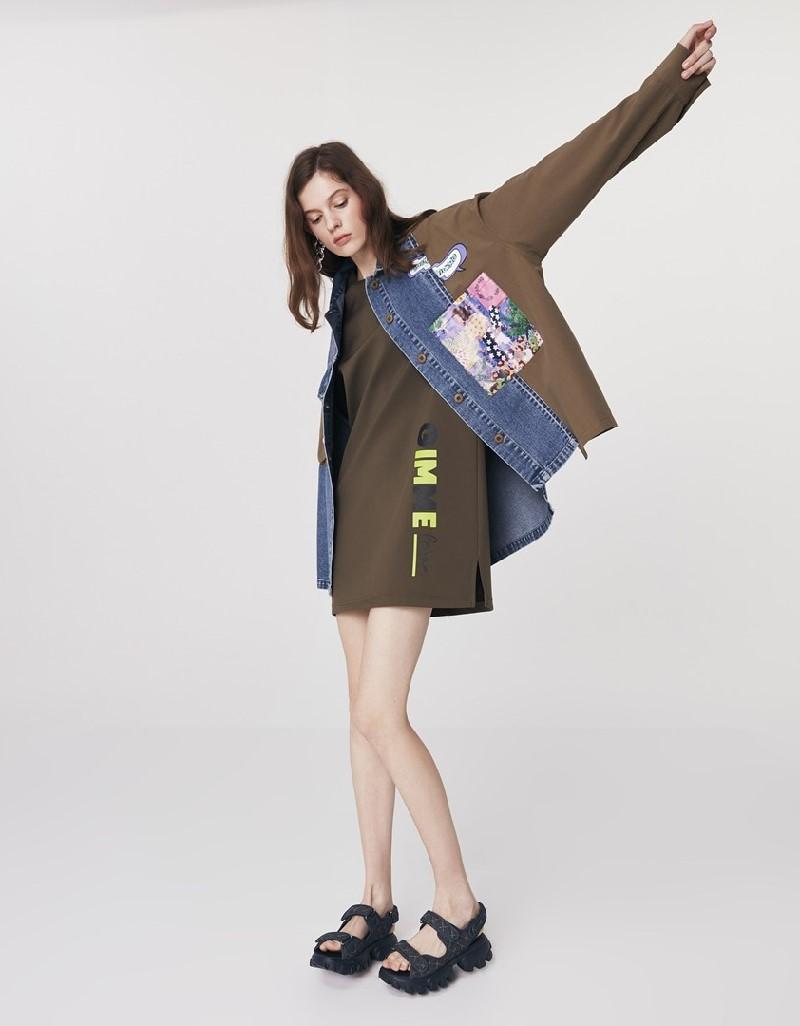 Blue Fabric Mix Denim Jacket